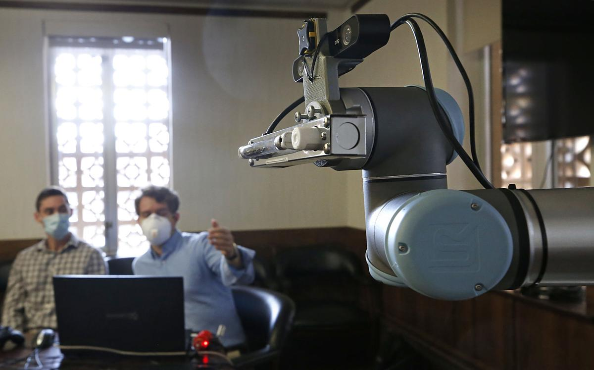 Dean Conte, one of the researchers developing the robot, said it was built by eight students at Virginia Tech, where Furukawa taught robotics prior to becoming a professor at UVA.